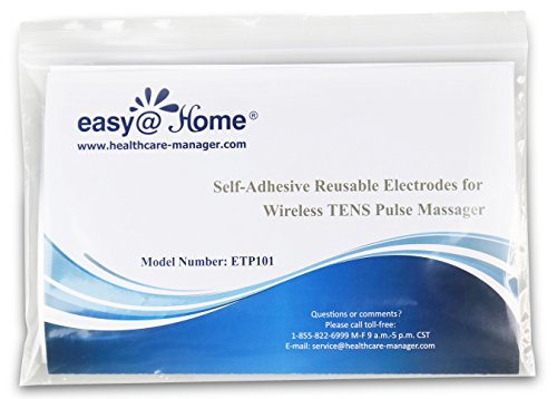 Easy@home 10 Re-useable Wireless TENS & EMS Self-Adhesive Electrode Pads, FDA Cleared for Over The Counter(OTC) Use, Compatible with Easy@Home EHE016 Wireless TENS