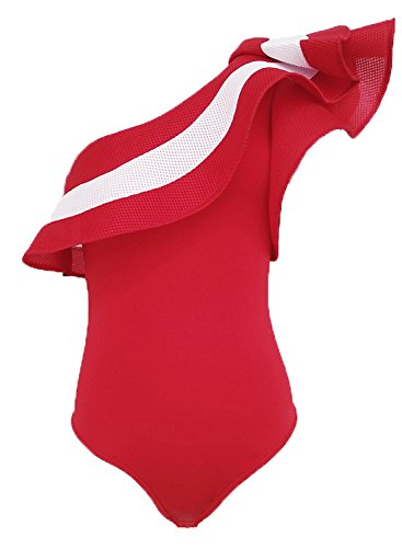 Yinggeli Women's Off Shoulder with Ruffle Bodysuit Leotards Rompers(Small, Red-2)