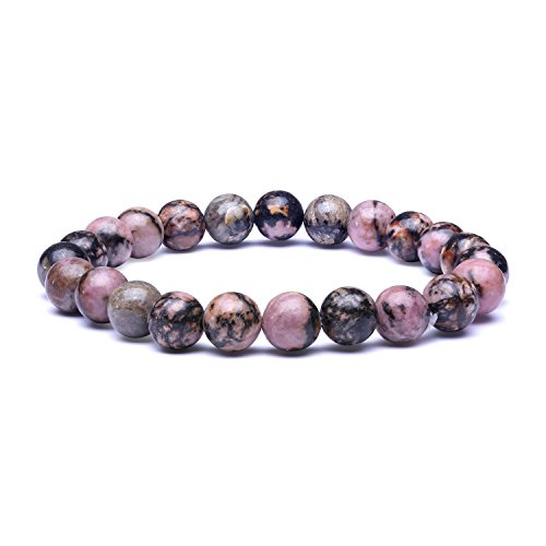 (Candyfancy 8mm Natural Rhodonite Beads Stone Healing Elastic Beaded Stretch Bracelets for Women Men DIY Spiritual Bracelet for 6-6.8Inch Wrist (Natural Rhodonite))