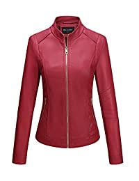 Bellivera Womens Faux Leather Short Jacket Fall