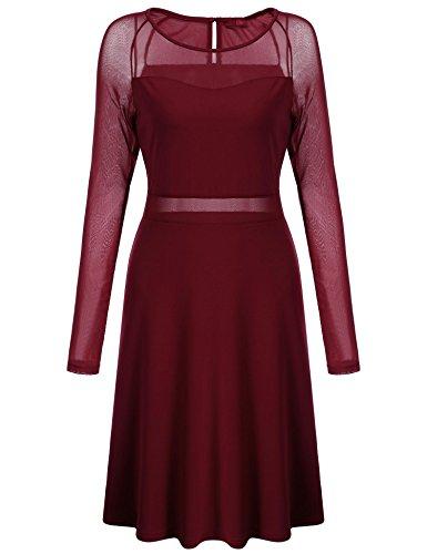 Net Long Sleeve Dress - 5