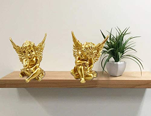 Set of 2 Gold Mini Angels Resin Cherubs Statue Figurine, Indoor Outdoor Home Garden Decoration,Tabletop Decoration, Adorable Angel Sculpture Memorial Statue A Pair (Golden)