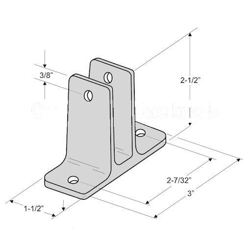 Chrome Plated Zamak Two Ear Panel Bracket Pak for 3/4'' Restroom Partition Panels