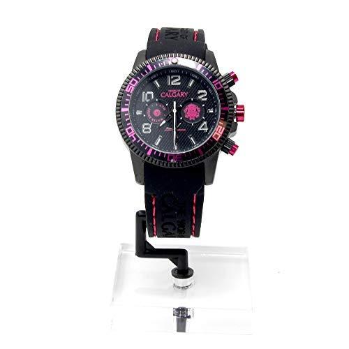 Relojes Calgary, Mazzini Black Pink, Correa Negra Esfera Negra con Detalles Fucsia: Amazon.es: Relojes