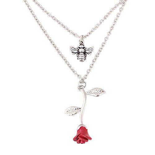 1 Light Honey Pendant -  Necklace, Red Rose Honeybee Double-Deck Necklace Woman Necklace Pendant Jewellery Wedding Gifts