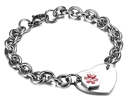 JF.JEWELRY Medical Alert ID Bracelet for Women Stainless Steel Heart Tag Free ()