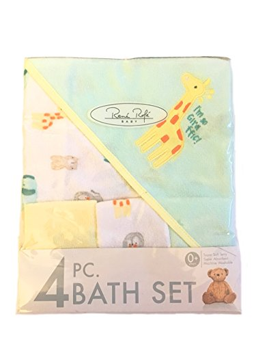 Rene Rofe Baby Soft Terry Bath Towel & 3 Washcloths Set Blue and White Giraffe 0+ years