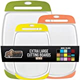 Gorilla Grip Original Oversized Cutting Board, 3 Piece, Perfect for the Dishwasher, Juice Grooves, Extra Large Thick Boards, Easy Grip Handle, Non Porous, Kitchen, Set of 3, Lime, Orange, Lemon