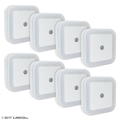 LINCO LED Plug Night Light Wall Lamp With Dusk to Smart Sensor, Pack of 8 T001 - Plug Lite