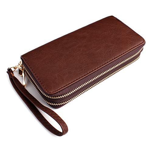 Classic Zip Around Wallet - PU Leather Double Zipper Clutch Purse with Card & Phone Slots, Removable Wristlet Strap -