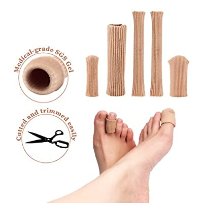 Toe Tubes?Fabric Sleeve Protectors with Gel?Toe Separators Protector?Silicone Tube finger and Toe protectors?Prevent Corn, Callus & Blister Development Between Toes, 5 Pcs Tube Sleeve Set