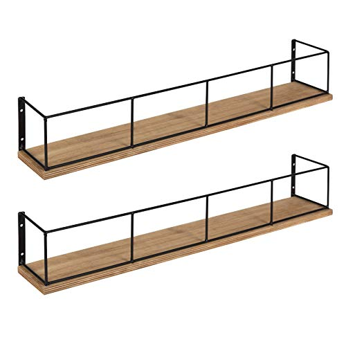 Kate and Laurel Benbrook 2-Pack Wood and Metal Floating Wall Shelves, 24
