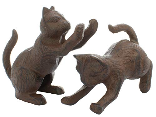 - 2 Pack Cast Iron Cat Book Ends Or Door Stop Decorative Rustic Look for Any Book Case Stop Your Bedroom Bath and Exterior Doors in Style Vintage Brown Color Book Stopper Cute Door Stopper Cat Figurine