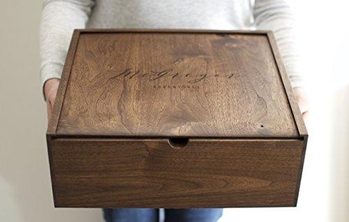 Extra Large Keepsake Box - Engraved Wooden Box - Wood Photo Box - Personalized Walnut Memory Box - Wedding Card Box (Engraved Memory Box)
