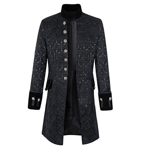 Nobility Baby Mens Velvet Goth Steampunk Victorian Frock Coat (L, (Black Frock Coat Costume)