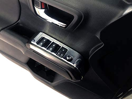 JSTOTRIM Crewcab Rear Doors 2pcs Carbon Fiber Look Interior Door armrest Window Switch Panel Cover Trim for Toyota Tacoma 2016-2020