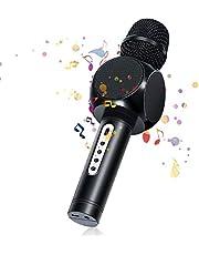 bluetooth Microfono Karaoke, NASUM Microfono Portatile per Voce e Canto Registrazione, per Adulti e Bambini Compatibile con Android/iOS, PC o Smartphone