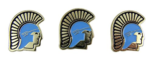 Trojan School Mascot Gold Toned with Enamel Lapel Pin, Pack of 3
