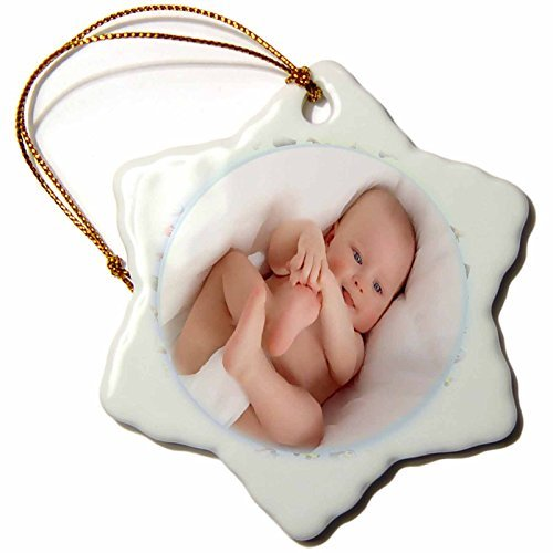 Christmas Ornament Susan Brown Designs People Themes - Baby Boy and Toys - Snowflake Porcelain Ornament -