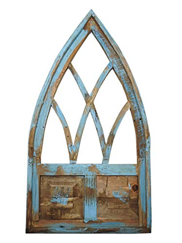 - Rustic World LLC. Rustic Wood Small Cathedral 2-Panel Window Frame, Distressed Decor (Turquoise)