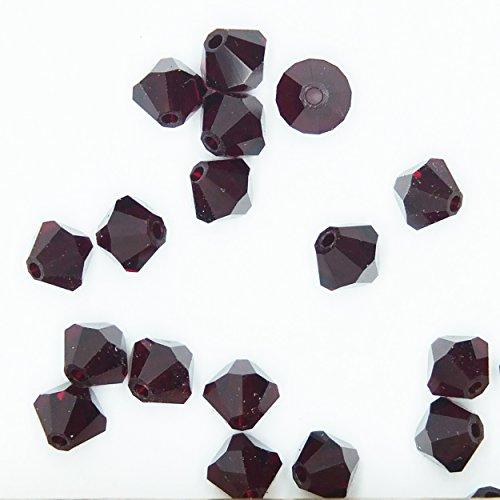 Garnet 4mm Swarovski Crystal Beads. Bicone. Made in Austria. Pack of 20