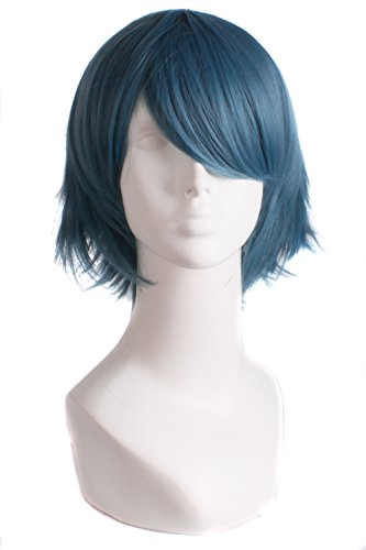 MapofBeauty Mens Short Straight Wig Cosplay Costume Wig (Blue Grey)