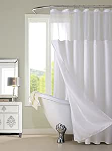 Amazon Dainty Home Waffle Complete Shower Curtain White