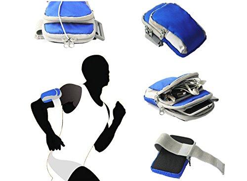 Tsmine MOTO G 2nd Gen XT1068 XT1063 Sports Gym Armband Wrist Bag Case - Running Jogging Sports Gym Keys Money Washable Double Pocket Pouch Arm Band Wrist Bag Case, Navy Blue