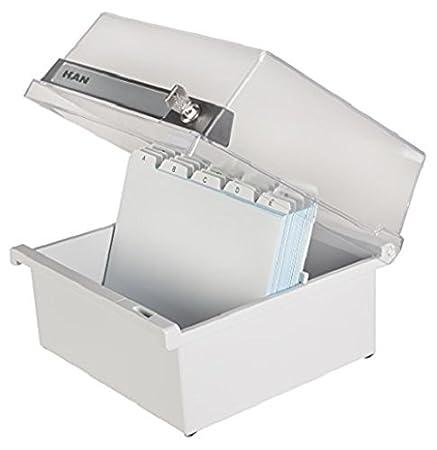 Han-Bürogeräte 965-S-631 - Archivador de fichas, para aprox. 800 fichas. tamaño A5, color gris, tamaño 235 x 190 x 250 mm: Amazon.es: Oficina y papelería