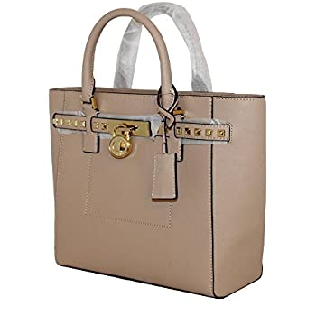 369a4665796a MICHAEL Michael Kors Women's Hamilton Traveler STUDDED Large TOTE Leather  Handbag (Oyster)