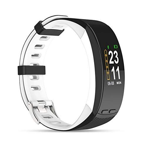 Ninecoo HD Color Display Fitness Tracker,Smart Fitness Watch Activity Tracker Sleep Heart Rate Monitor Sport GPS Tracker Calorie Counter Bluetooth Wristband for iOS & Android (White Black)