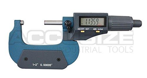 accusizeツール – 電子、デジタル外側マイクロメータ、0 – 1 in / 0 – 25 mm , 1 – 2 in / 25 – 50 mm、2 – 3 / 50 – 75 mm / 75 – 100 mm、4 – 5 / 100 – 125 mm、5で、3 – 4 – 6でで/ 125 – 150 mm B00S55J2LK 1-2