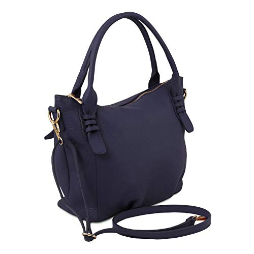 TL morbida Blu in Tuscany Borsa TL141705 Bag Scuro pelle Cognac a mano Leather 65qT15H