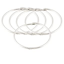 Uxcell Metal Bundle Book Rings Keyrings, 3.5-Inch, 5 Pieces, Silver Tone