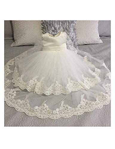 BuyBro Baby Girls Christening Gowns Dresses Long Tulle 2 Tiers Lace Edge Bowknot 9 Months Ivory