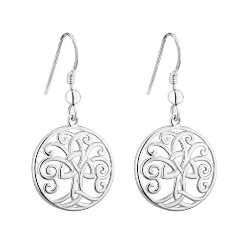 Tree of Life Drop Earrings Sterling Silver Made in Ireland by Failte