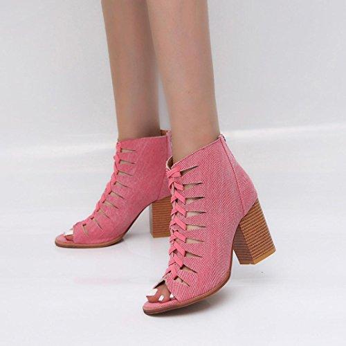 JIANGfu Plat Sandales Martin Out Poisson Bouche Chaussures Bohème Chaussures Bottes Unique Été Mode Hollow Femme Rose Denim ❤️❤️ Pantoufles Rome Mesdames Short Automne xxZrX
