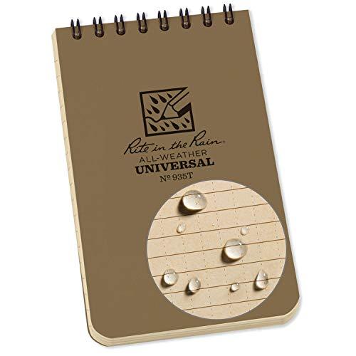 "Rite in the Rain Weatherproof Top-Spiral Notebook, 3"" x 5"", Tan 1 Pack, Beige"
