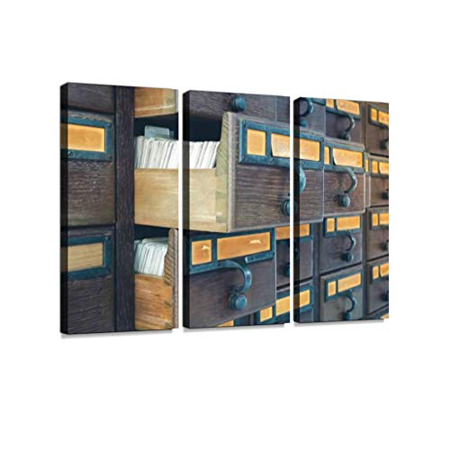 Wooden Boxes with Index Cards in Library 3 Pieces Print On Canvas Wall Artwork Modern Photography Home Decor Unique Pattern Stretched and Framed 3 Piece