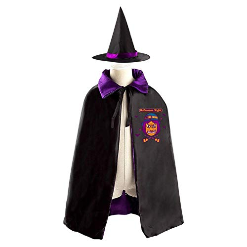 69PF-1 Halloween Cape Matching Witch Hat Evil Witch Wizard Cloak Masquerade Cosplay Custume Robe Kids/Boy/Girl Gift -