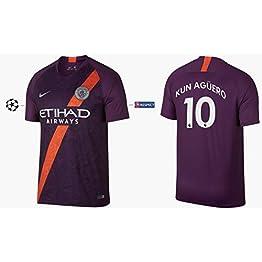 Manchester City F.C. Maillot Enfant 2018-2019 Third UCL - Kun Aguero 10