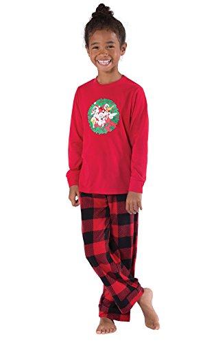 PajamaGram Looney Tunes Long Sleeve Fleece Big Girls Pajamas, Red/Black, Youth 6