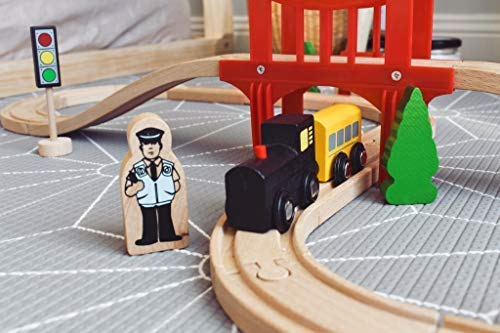 Tiny Land Wooden Train Set for Toddler, Toy Tracks, Engine, Passenger Car (39 pcs Play Kit) Kids Friendly Building & Construction | Expandable, Changeable | Fun for Girls & Boys