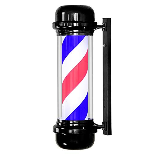 HOPOLE Classic LED Barber Pole Light Attractive Symbol Roating Red White Blue Stripes Wall Hanging Lamp Hairdressing Salon Shop Sign, 712130cm