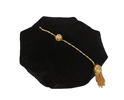 GraduationService Doctoral Tam 8 Sides with Gold Bullion Tassel Velvet Band,Black,One Size