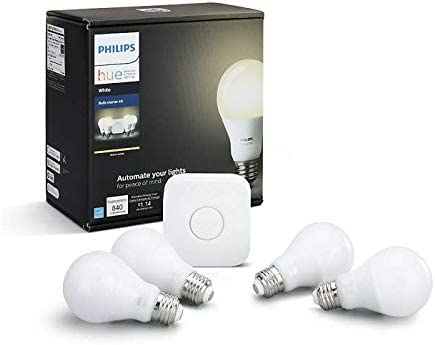 Philips Hue White 3rd Generation A19 Dimmable Smart LED 4-Bulb Kit with 2nd Gen Bridge Renewed