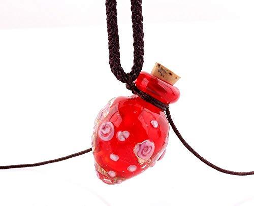 VATT Flower Pendant Necklace Colorful Lampwork Glass Pendant Necklace Essential Oil Diffuser Heart Perfume Bottle MM0749
