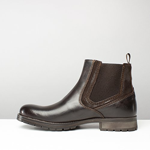 Jack & Jones JFWCARSTON Combo Mens Leather Pull On Chelsea Boots Brown Stone Brown Stone QtMF871P0