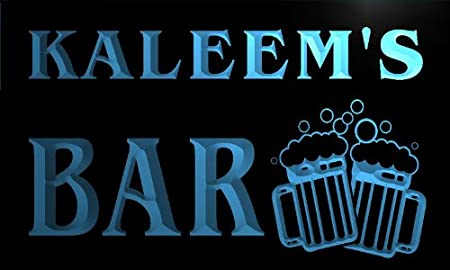 w105600-b KALEEM Name Home Bar Pub Beer Mugs Cheers Neon