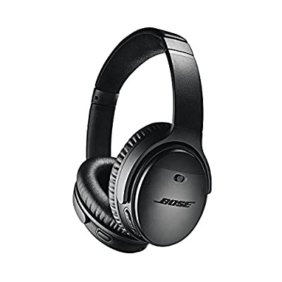 Bose QuietComfort 35 Wireless Headphones II with Microphone, Noise Cancelling, Black - With Apple Lightning to 3.5mm Headphone Jack Adapter